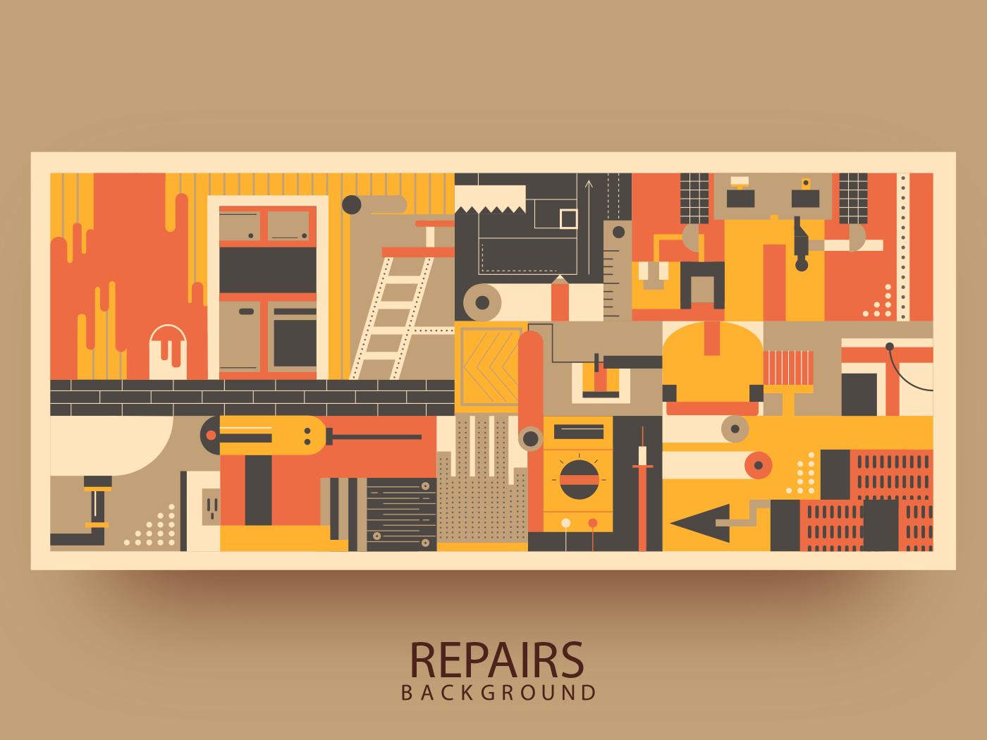 Repairs in apartment background