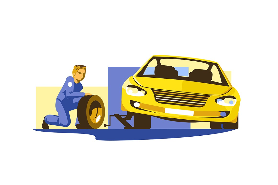 Process of replacing tires vector illustration. Repairman doing wheel replacement on car flat style design. Service station concept. Isolated on white