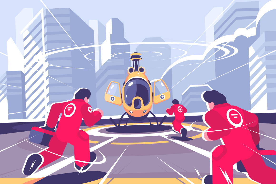 Yellow rescue helicopter and team flat poster. Copter on roof of building and men in red uniform running to it vector illustration. Air emergency concept. Cityscape on background