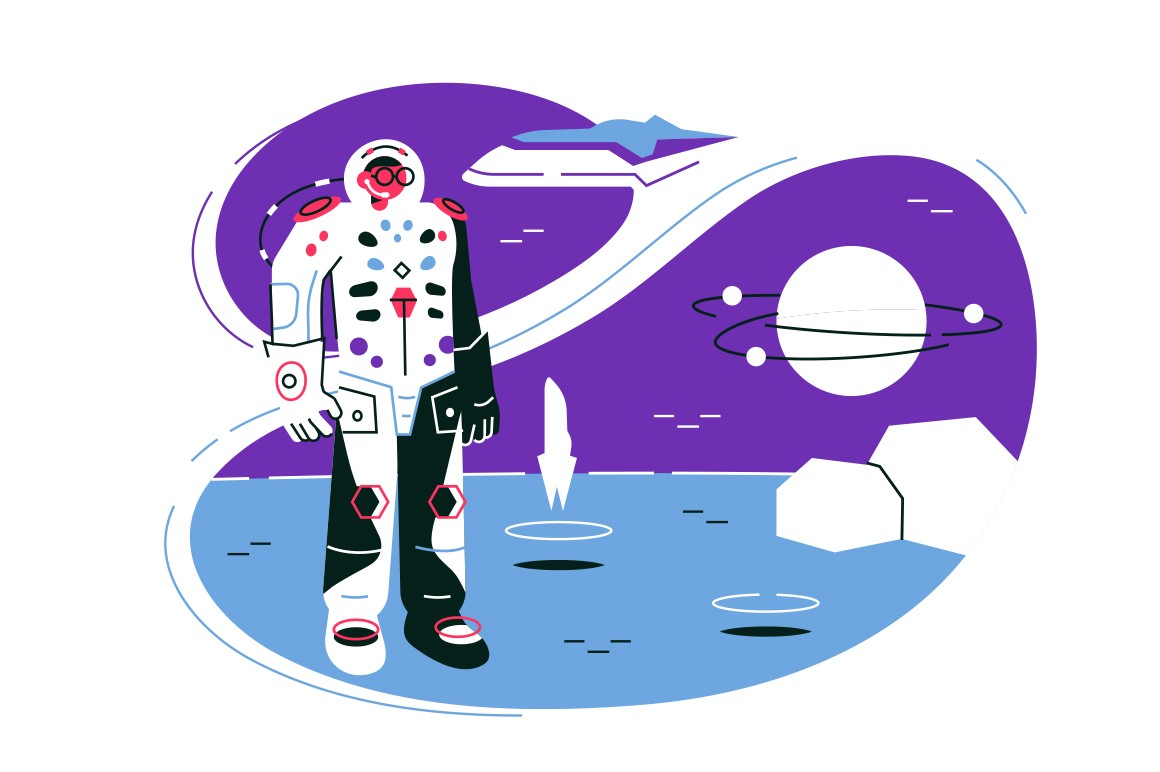 Astronaut on lunar mission space exploration vector illustration. Science and future tourism flat style. Spaceship travel to moon and research galaxy or universe concept