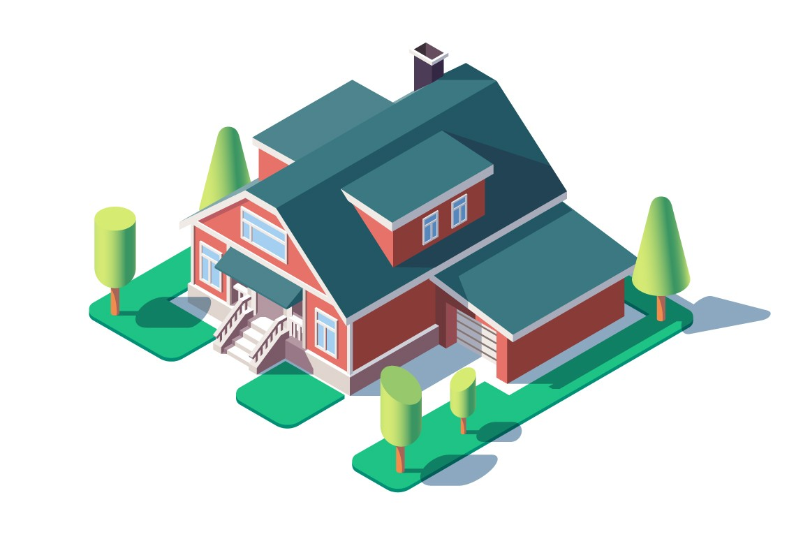 3d isometric large residential building with green tree, lawn and garage.