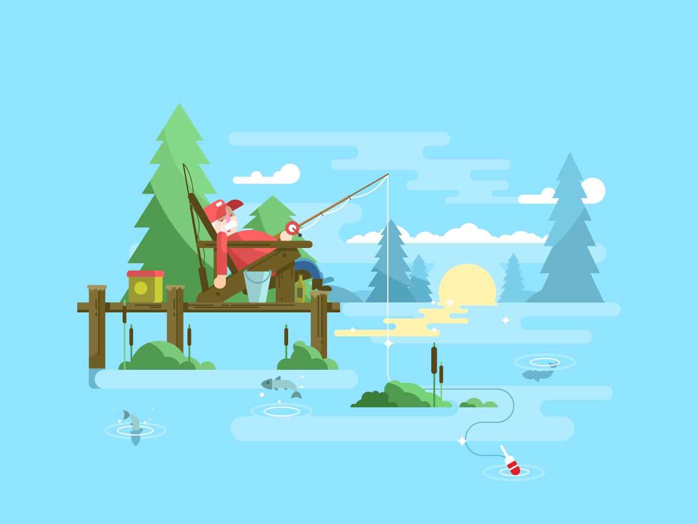 Rest fishing flat vector illustration