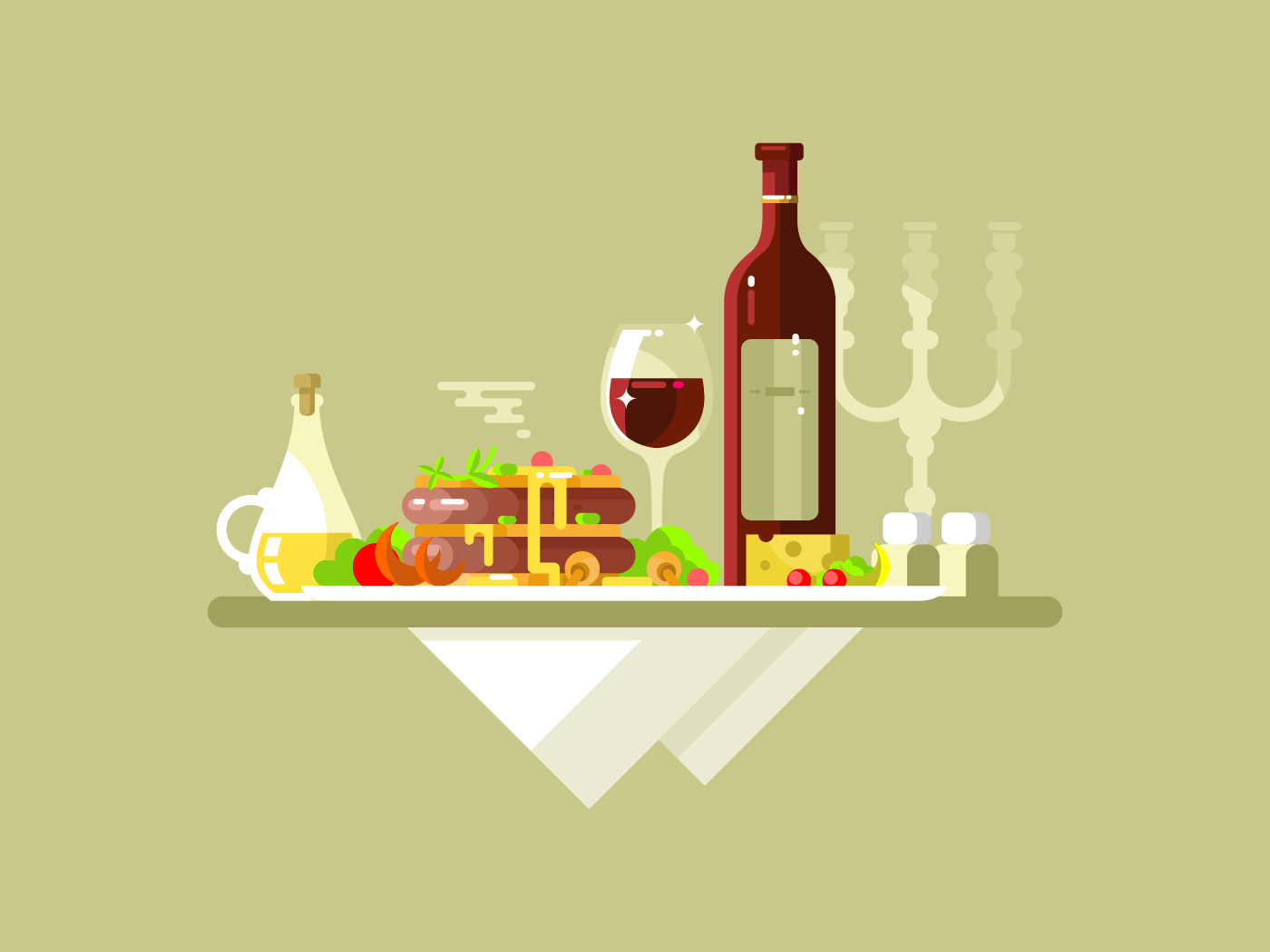 Dinner food restaurant flat vector illustration