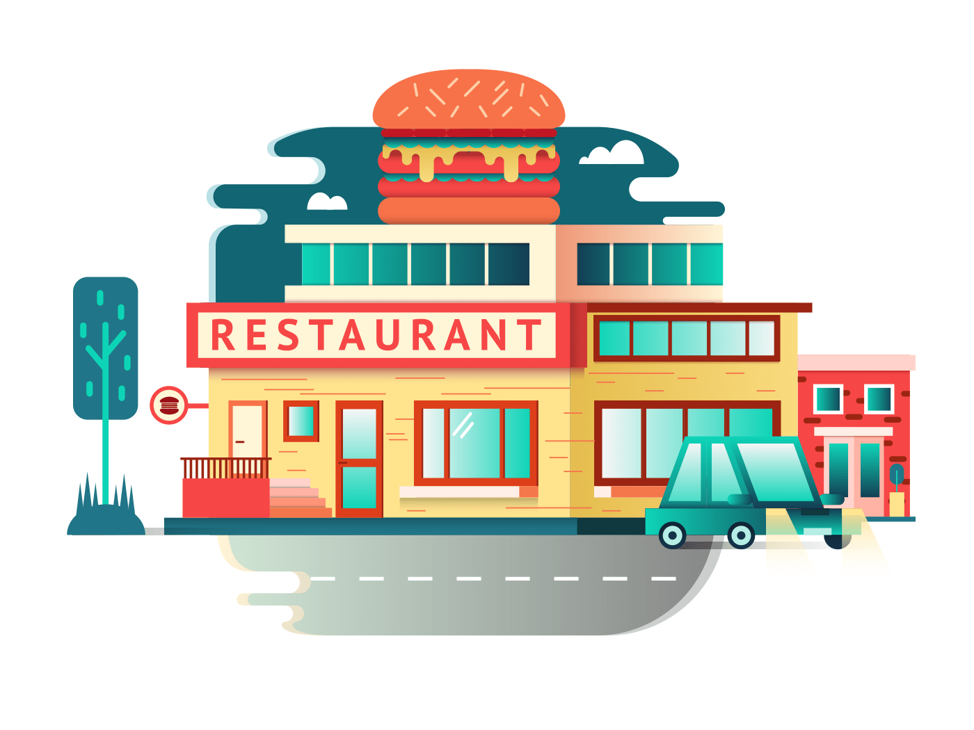 Restaurant building illustration