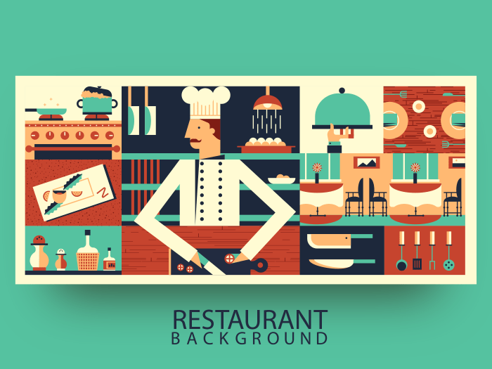Chef in restaurant abstract background