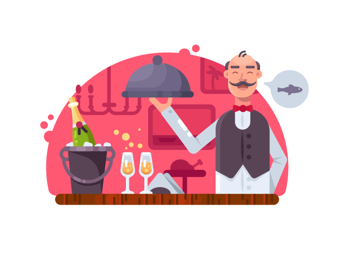 Waiter with dish near table illustration