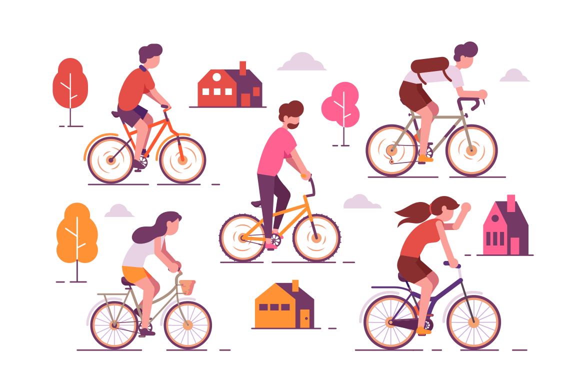 People riding bikes vector illustration. Men and women cycling on different types of bicycle around town together. City landscape with houses and trees on background