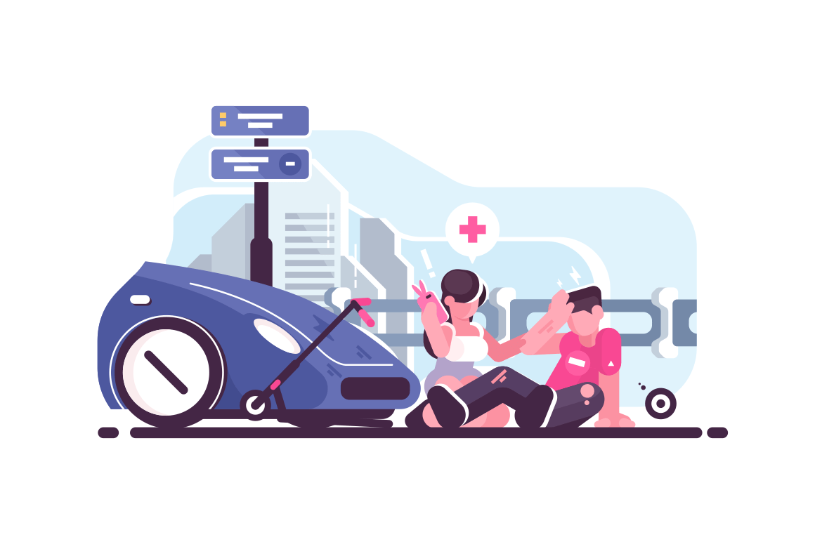 Traffic accident scene with car and scooter collision. Woman driver calling ambulance flat style vector illustration. Injured boy sitting on road and girl giving him first aid