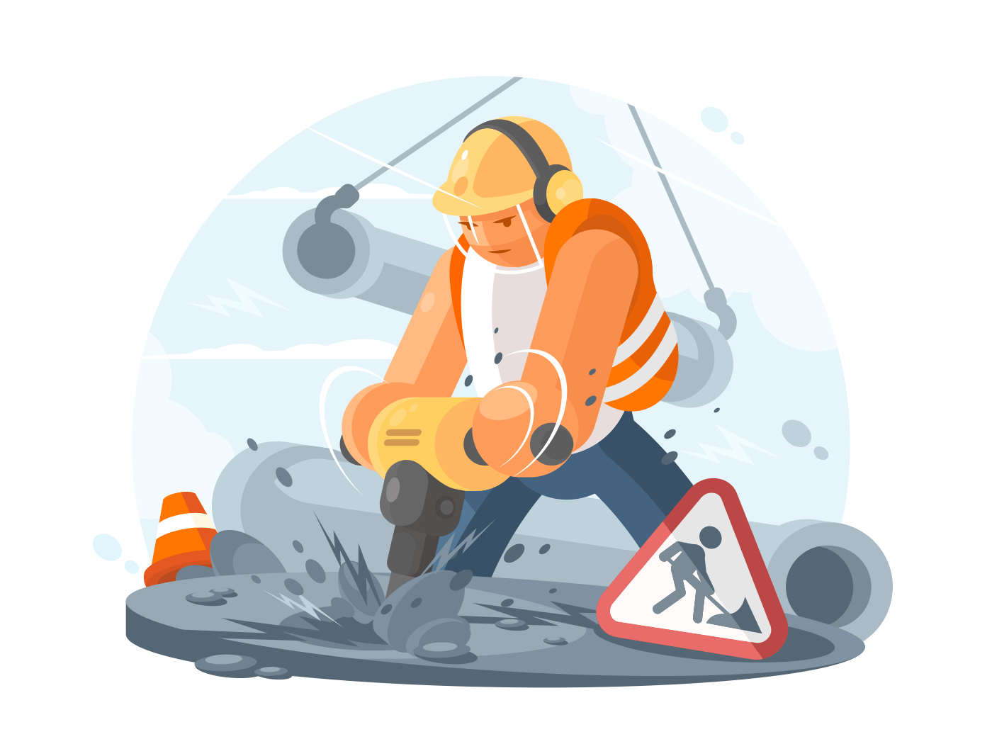 Road worker with puncher illustration