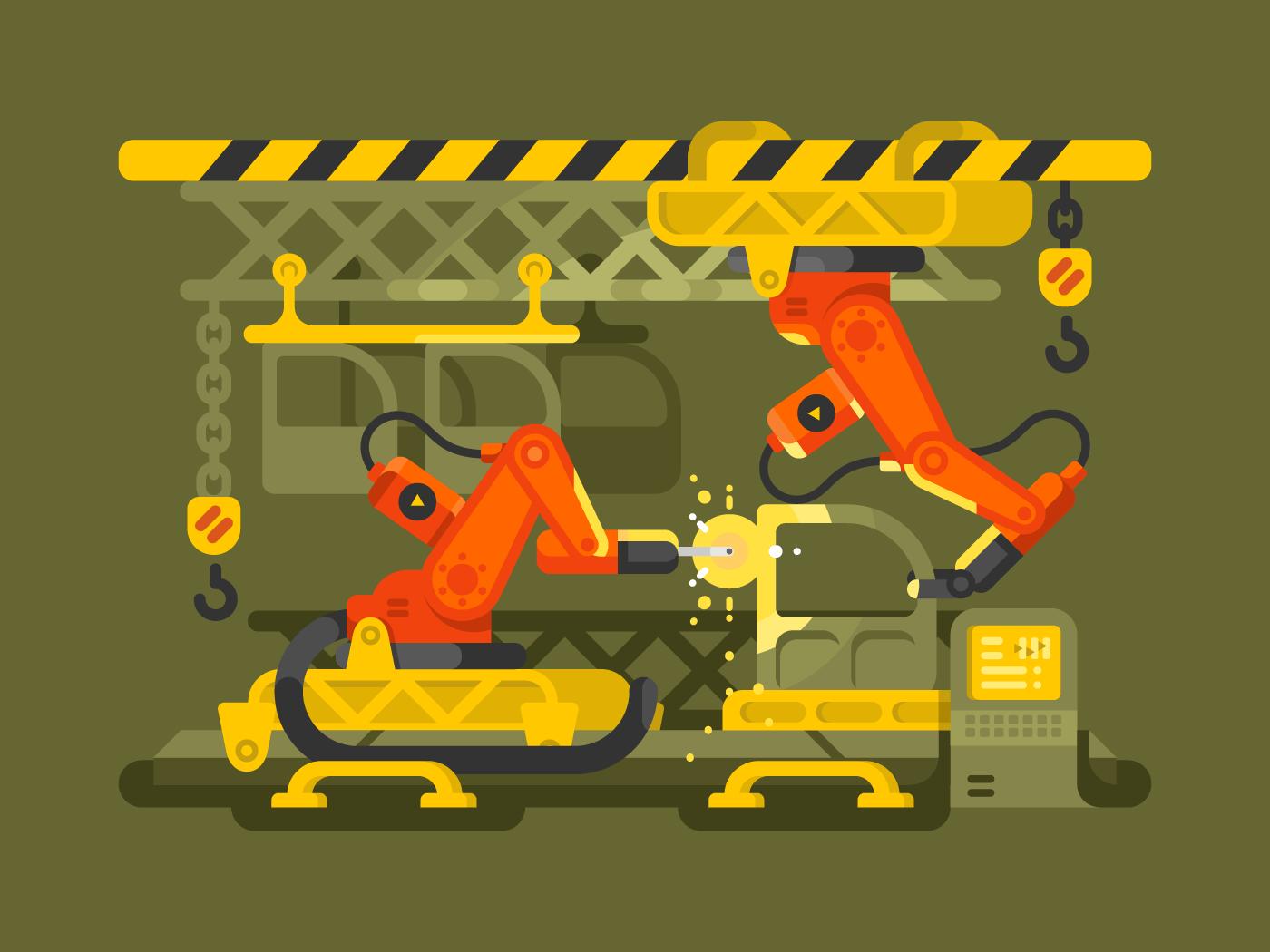 Automatic production using robotics flat vector illustration