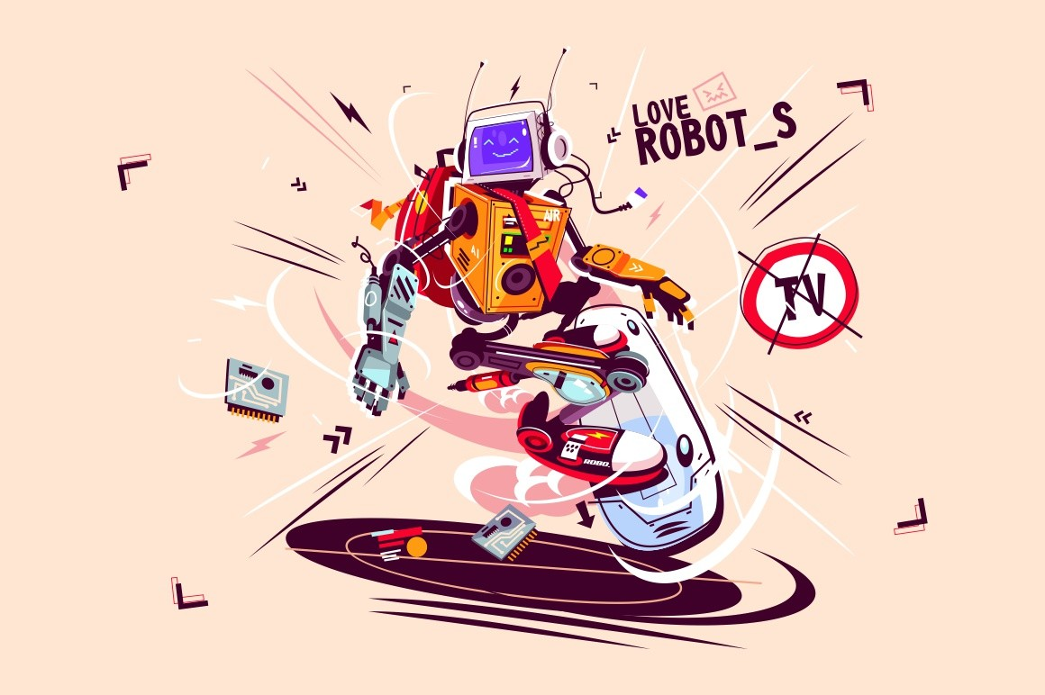 Funny computer robot on flying board vector illustration. Cartoon bot with artificial intelligence with backpack riding gyroboard flat style design. Modern robotics technology