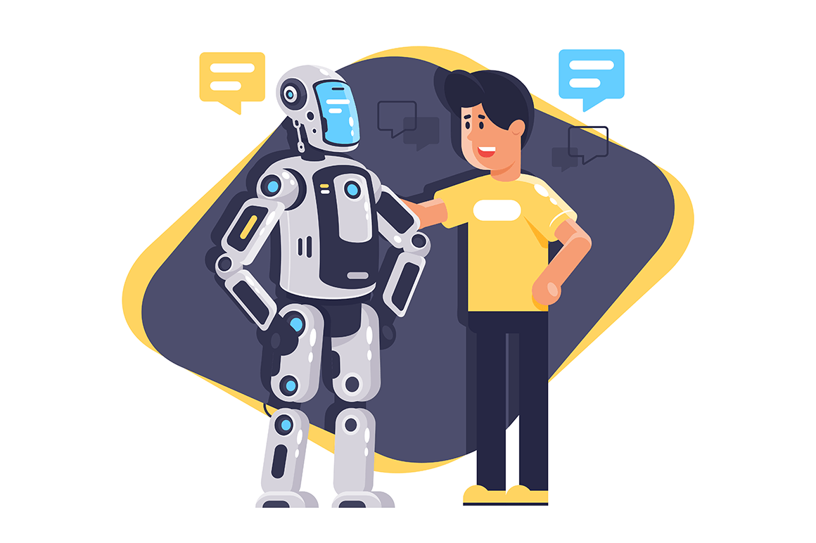 Flat young man talking to robot with speech bubble, robot and people.