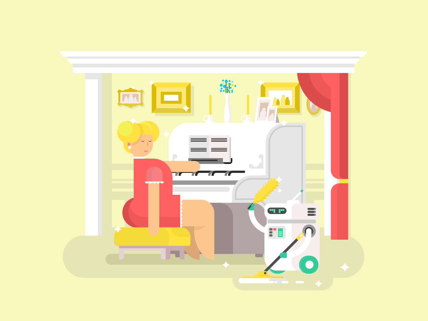 Housework robot assistant flat vector illustration