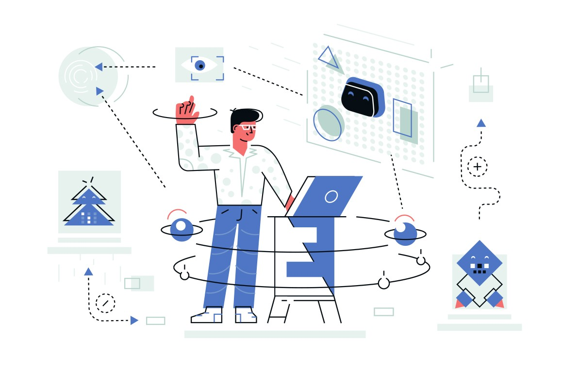 Modern robot helper vector illustration. Man standing near laptop and talking acts and instructions to machine flat style design. Newest robotic technologies concept