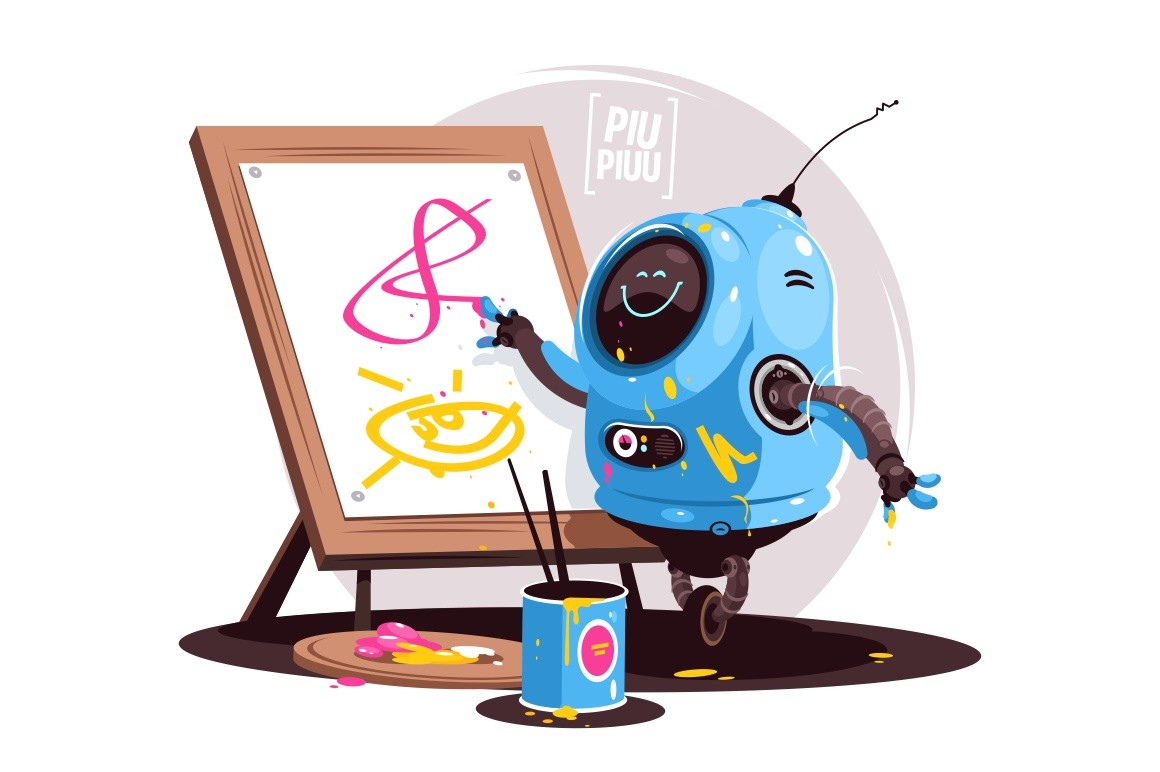 Robot painting at easel vector illustration. Futuristic bot writing and painting on white board flat style design. Newest robotic technologies concept. Isolated on white background