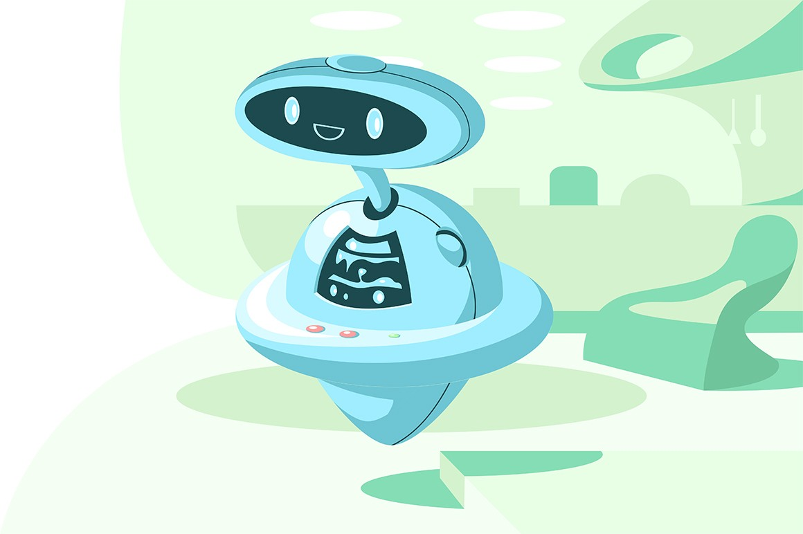 Automatic modern robot vector illustration. Automatization artificial intelligence. Flying bot helper flat style design. New robotic technologies concept