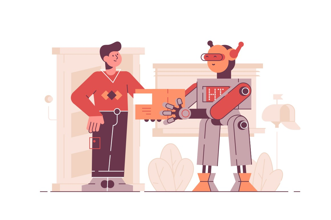 Robot delivering package to client vector illustration. Man receiving parcel from bot courier flat style design. House exterior on background. Newest robotic technologies concept