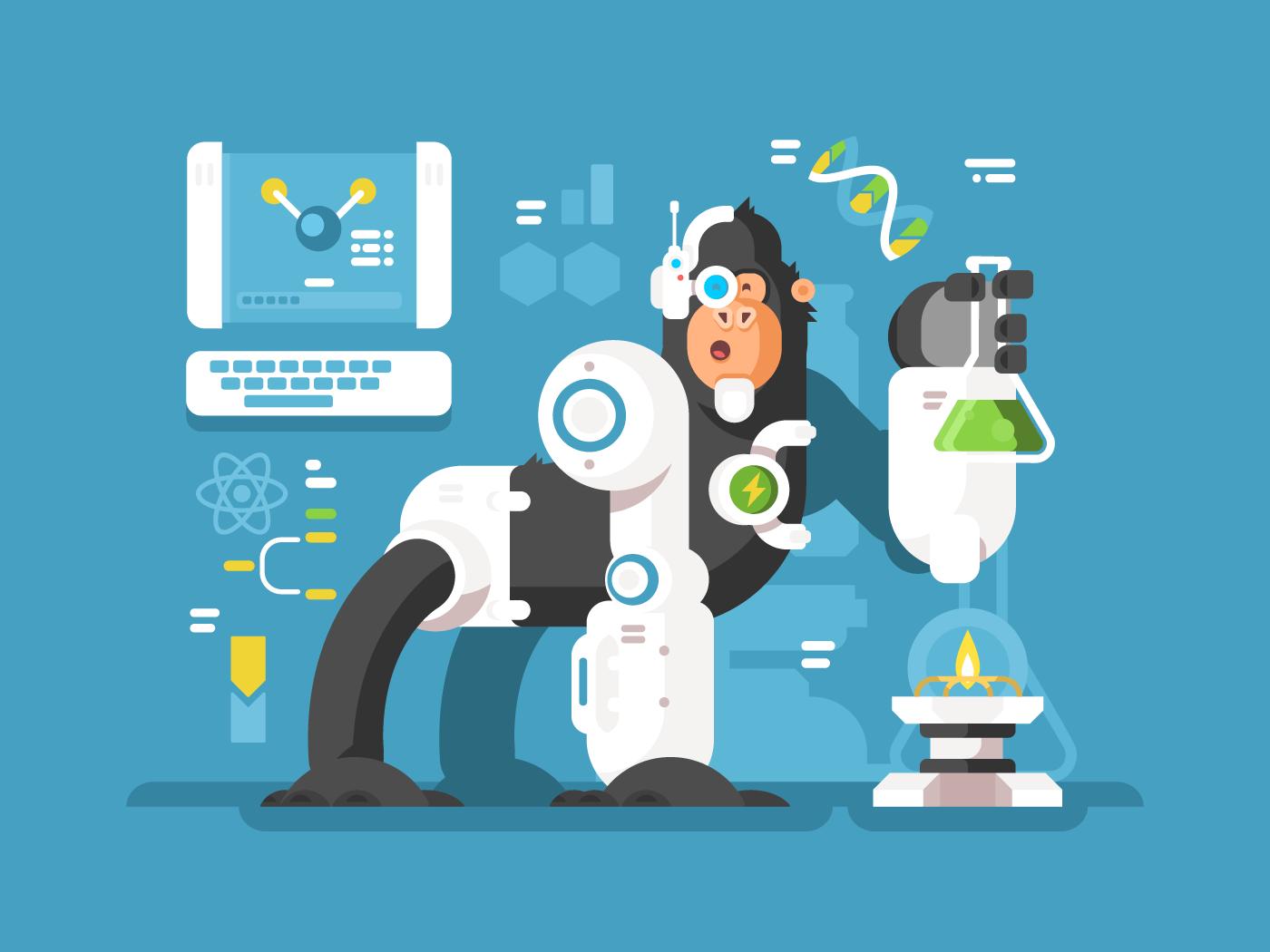 Robot monkey scientist flat vector illustration