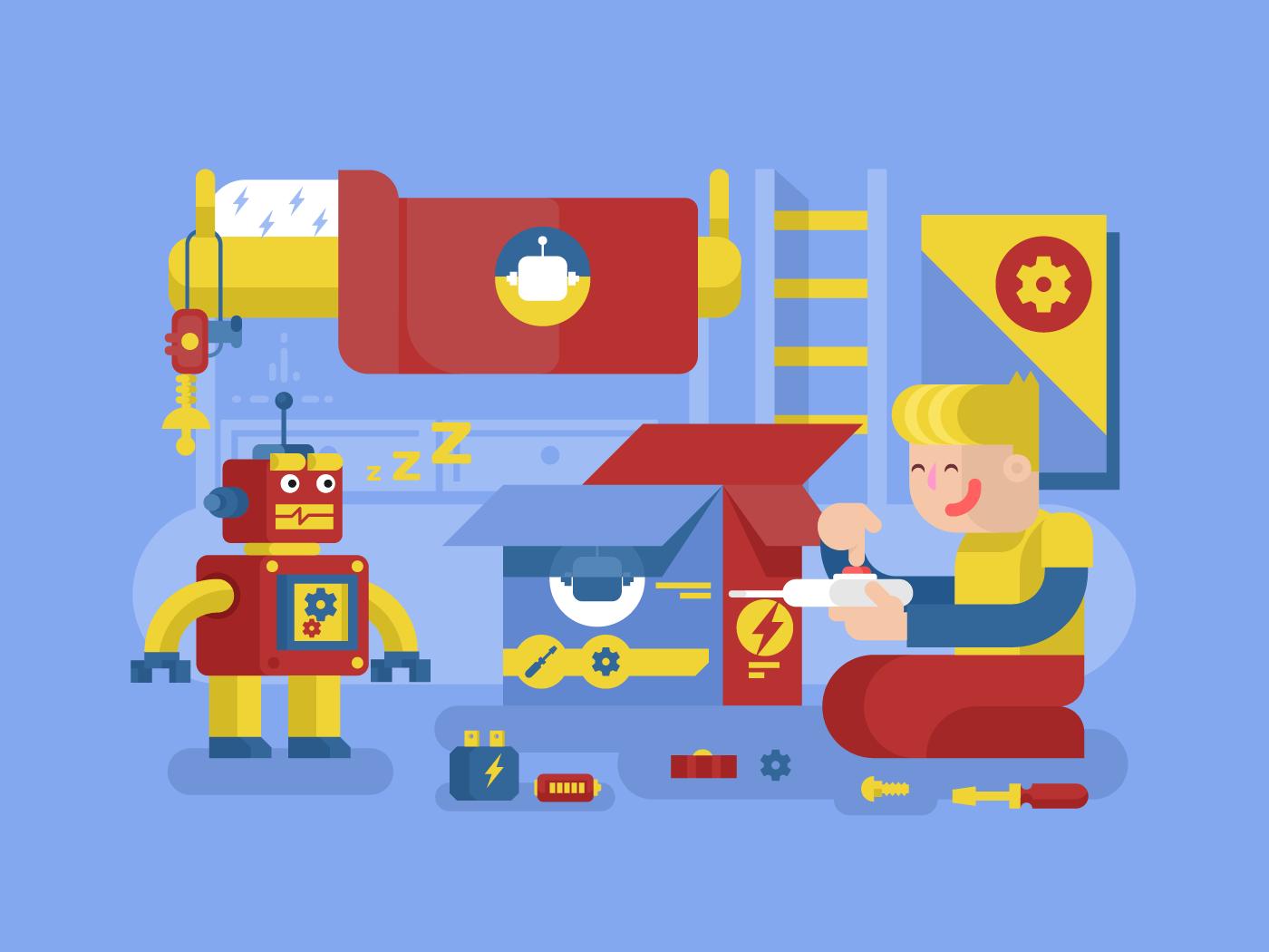 Robotics guy control robot flat vector illustration
