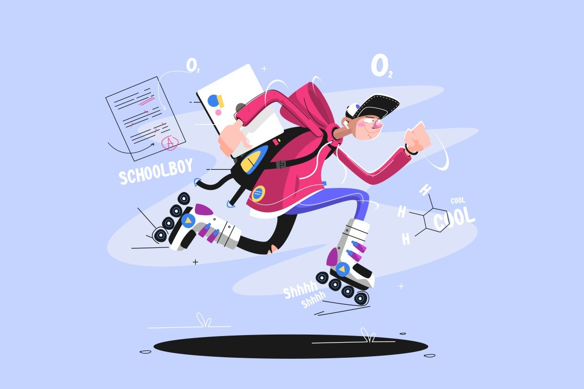 Rollerblading dude in sport uniform holding laptop vector illustration. Schoolboy having fun and active pastime cartoon design. Teenager on rollerblades. Extreme leisure concept