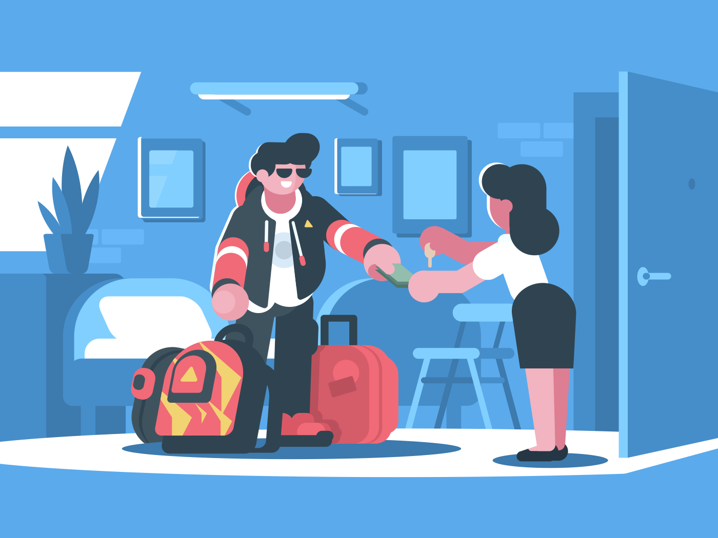 Rent apartment or room. Man rents accommodation. Vector flat illustration