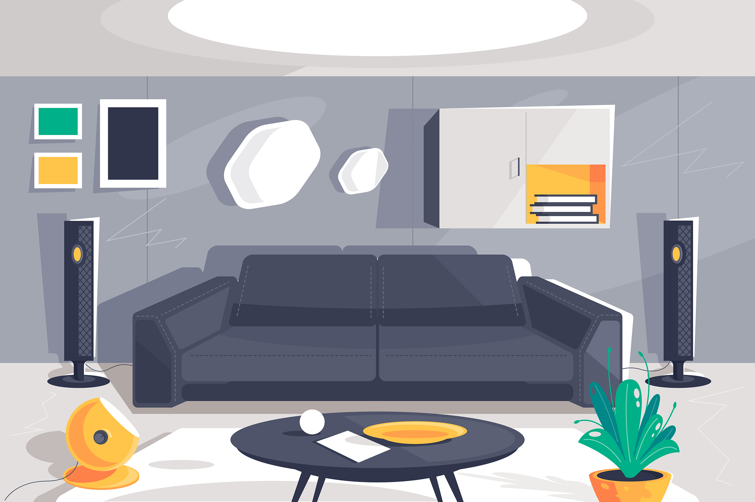 Flat modern urban room interior with home theater, sofa, plant, cupboard, table and lamp.