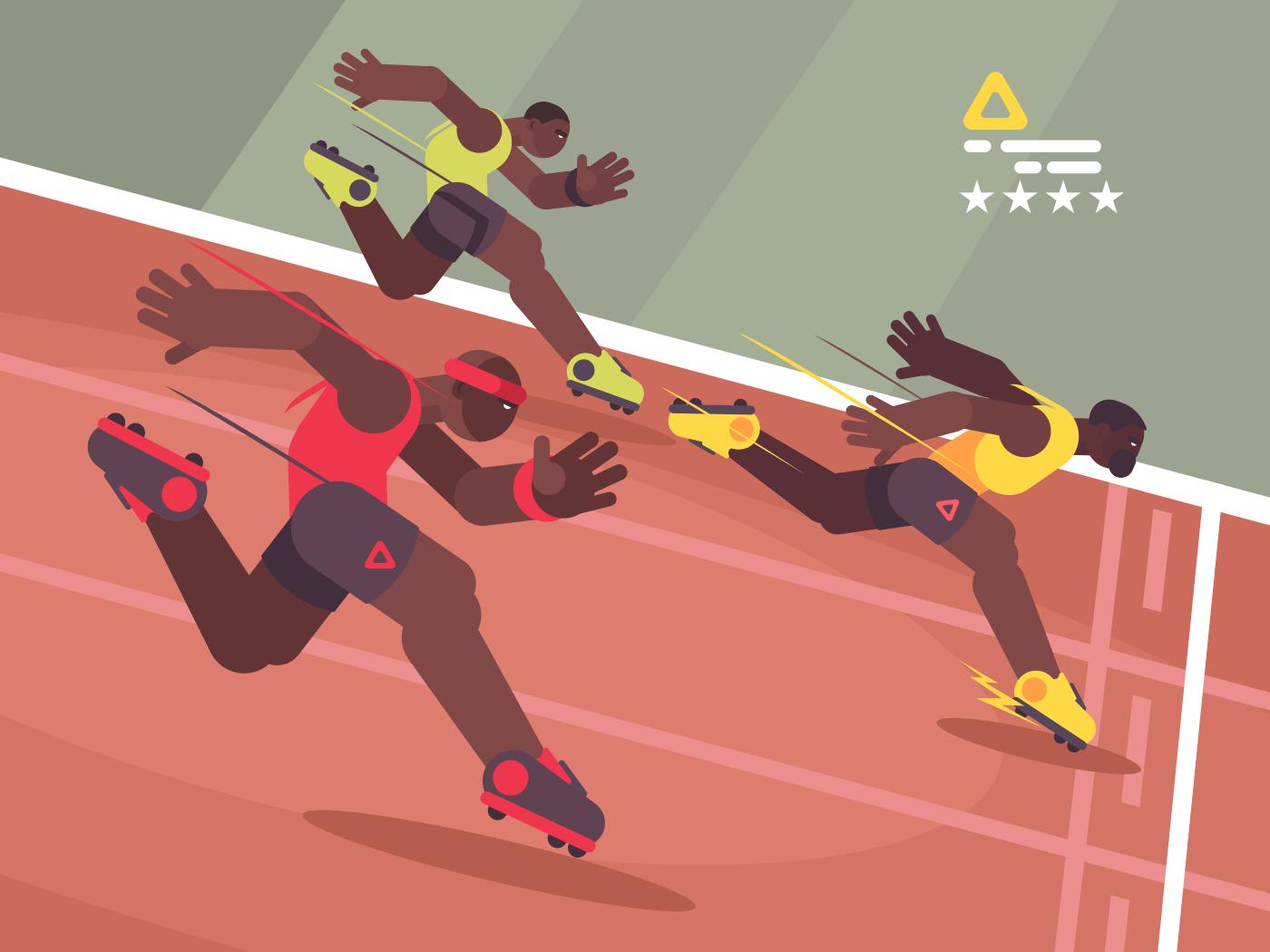 Athletics competition sprint. Athlete runs to finish line. Vector illustration