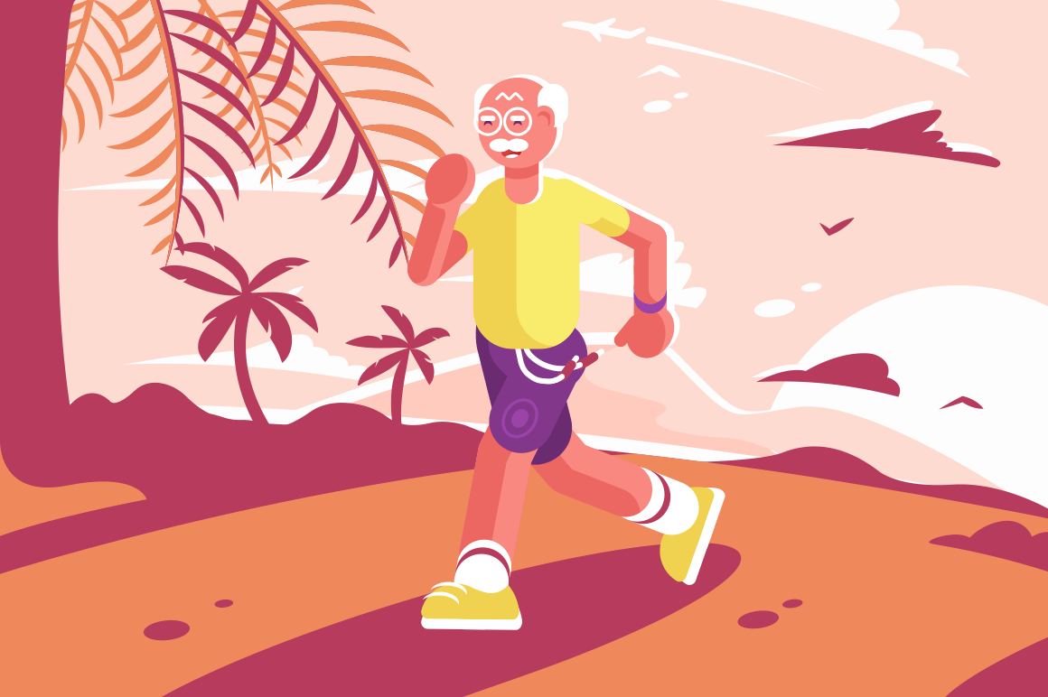 Grandpa at sports suit running at seaside. Cartoon grandfather wearing in shorts and shirt runs at palms and sunset background vector illustration. Healthy lifestyle and healthcare flat concept