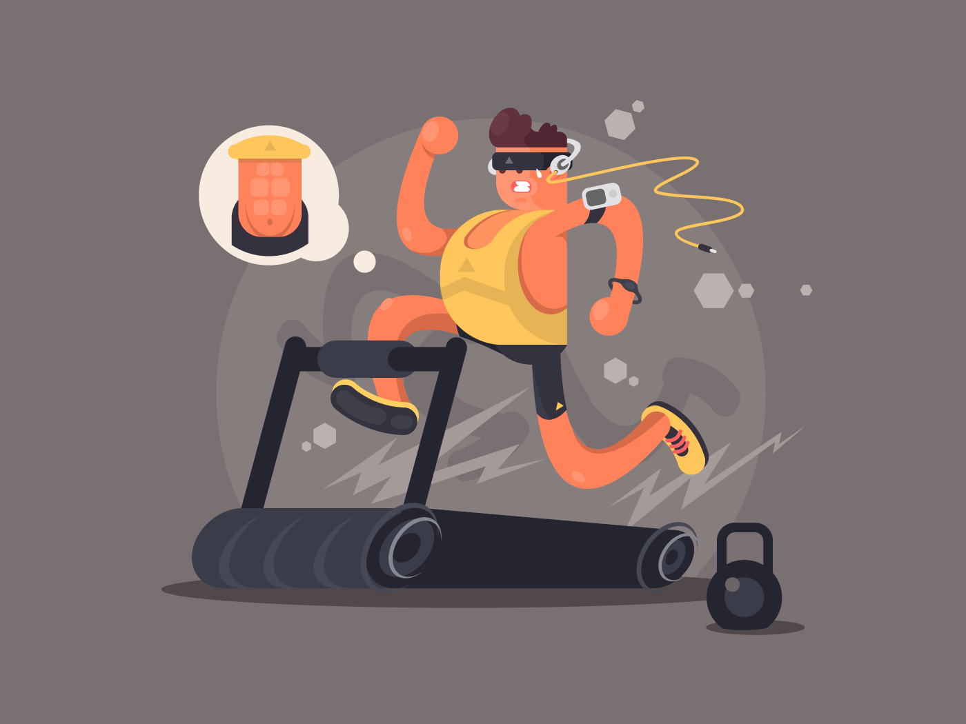 Young man running on treadmill flat vector illustration