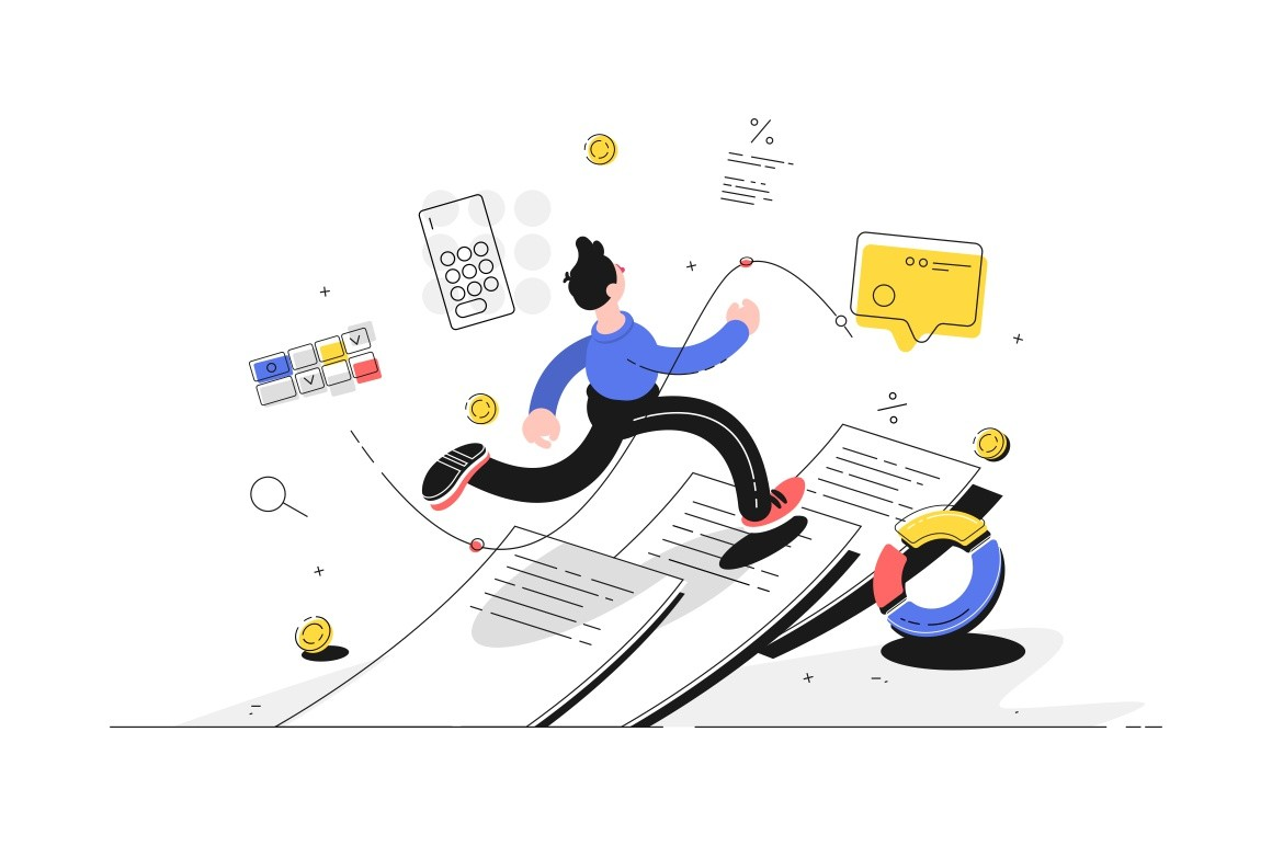 Man running on documents vector illustration. Guy escaping out paperwork flat style design. Diagram, calculator, message and coins icons. Finance and statistics concept