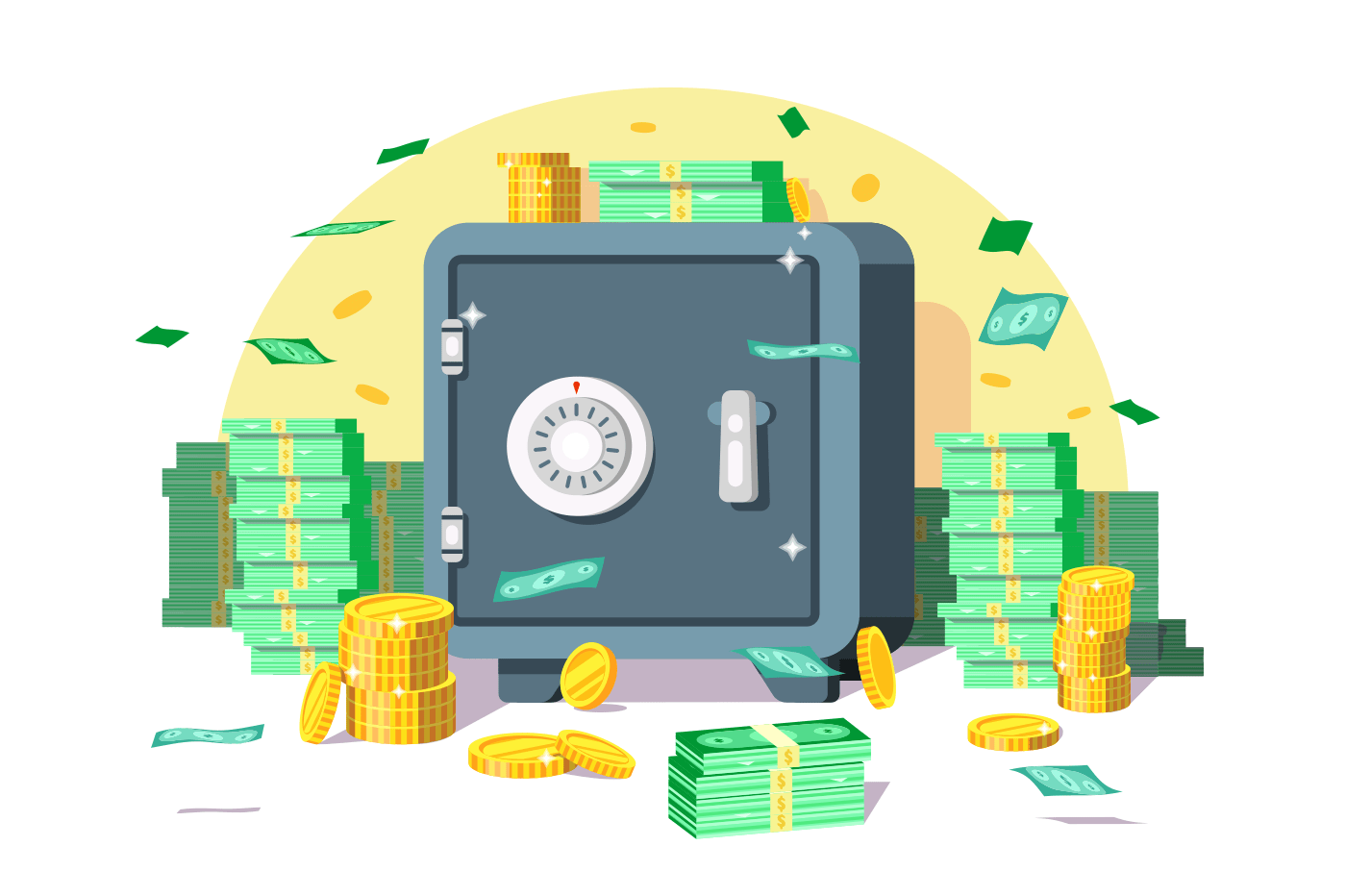 Safe box with money savings dollar coins banknotes. Cash protection concept. Flat. Vector illustration.