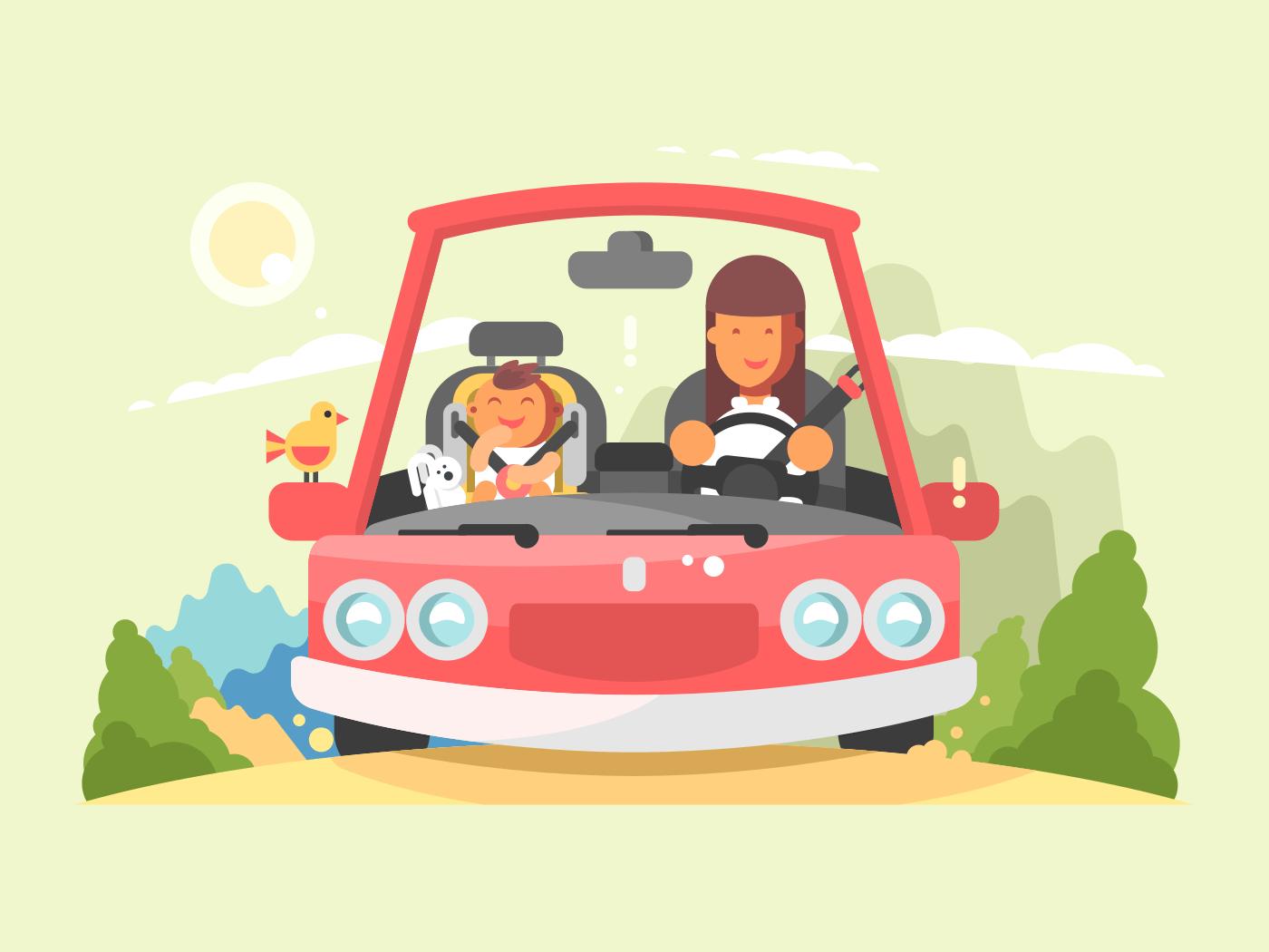 Car safe driving flat vector illustration