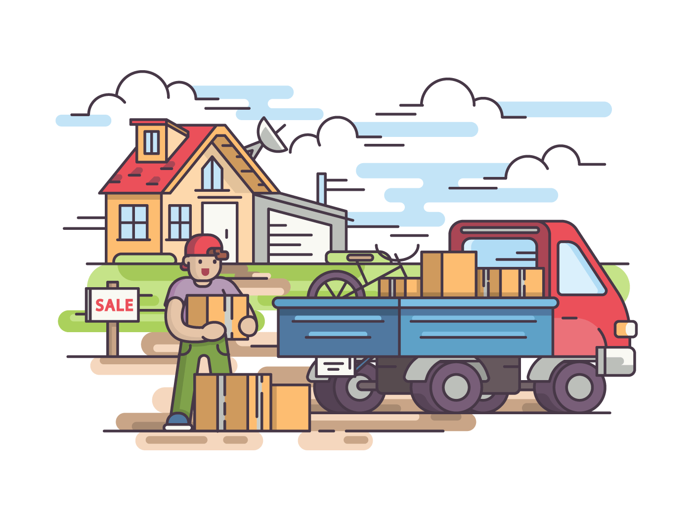 Sale of house. Guy leaves home and collects things in car. Vector illustration