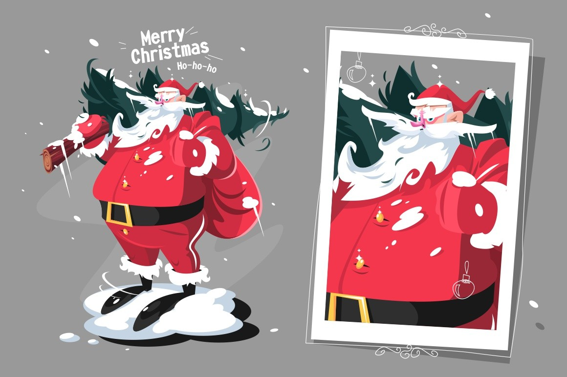 Santa Clause with fir-tree vector illustration. Father Frost carrying on shoulder snowy pine-tree flat style design. Merry Christmas and Happy New Year concept