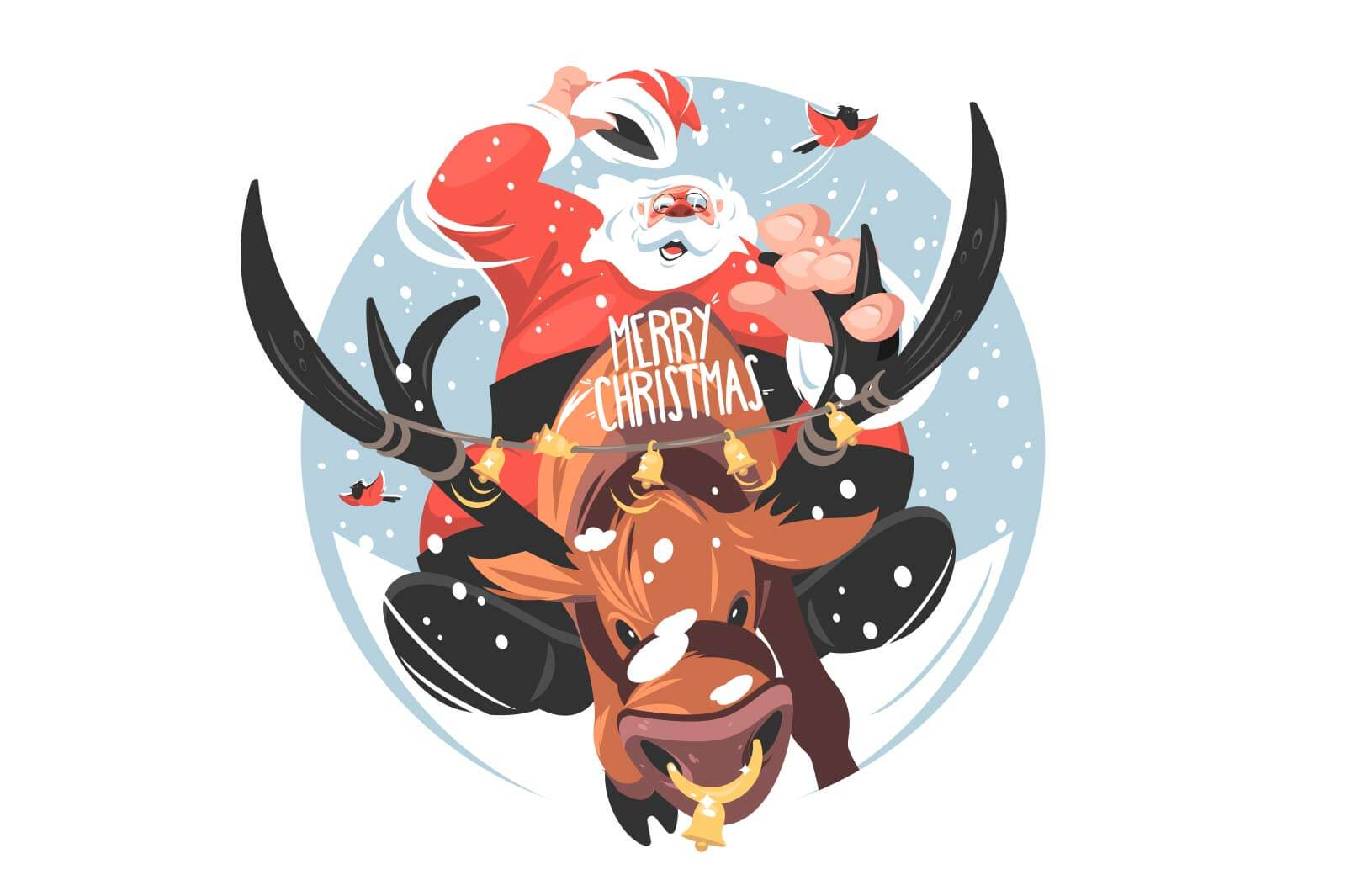 Santa riding on deer vector illustration. Santa sitting on stag flat style. Christmas character with beard in festive costume. Xmax and new year concept. Isolated on white background