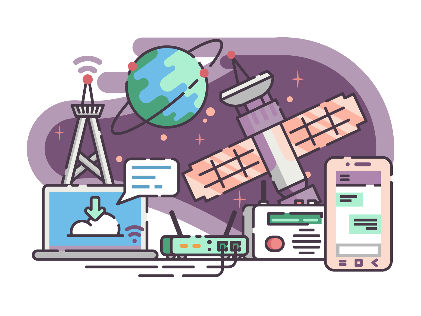 Space satellite for communication internet and telecommunications. Vector flat illustration