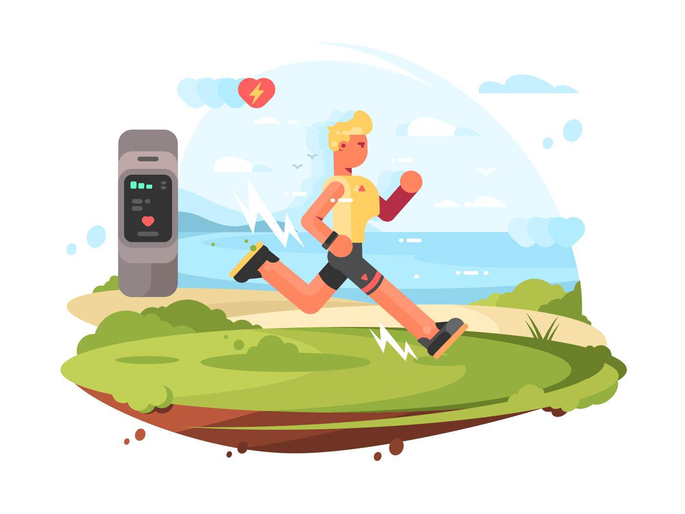 Runner scamper runs at coast illustration