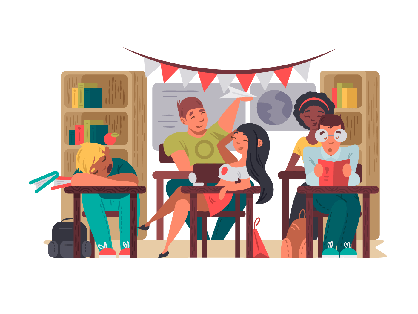 Pupils sit in classroom at desks. Education in school. Vector illustration