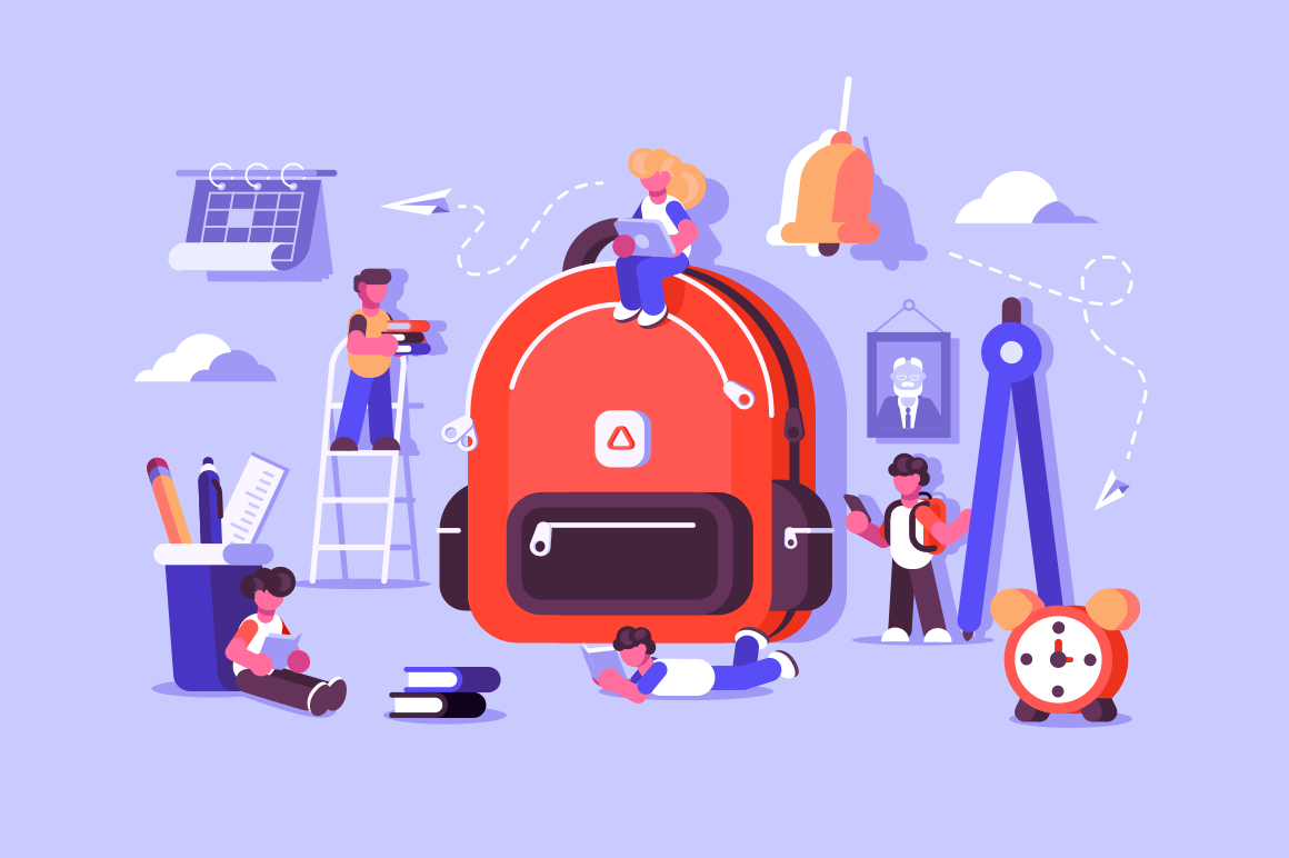 Child bag with essential stuff for study. Kids school backpack with education equipment vector illustration. Education concept. Isolated on purple background