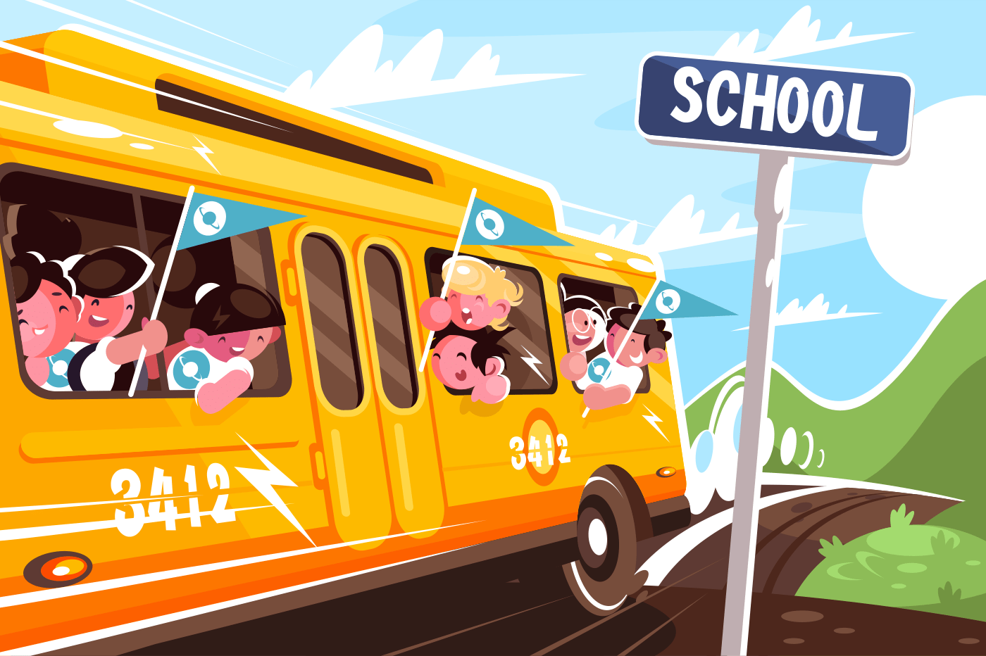 Yellow school bus leaving school. Concept happy children in transport, vehicle. Vector illustration.