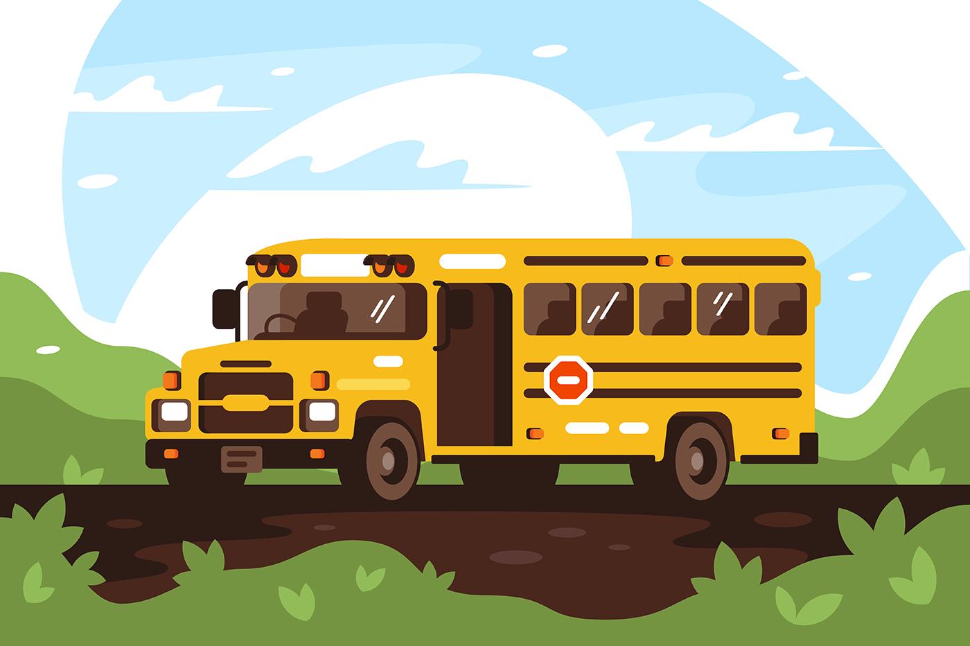 Empty school bus on trip, excursion.