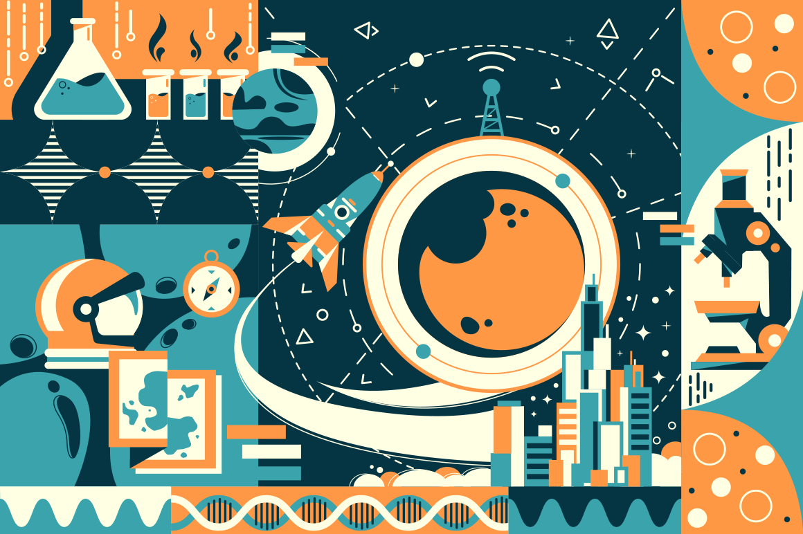 Concept future and modern science, city and space.