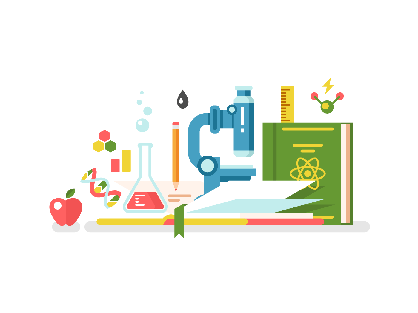 Science and education flat vector illustration