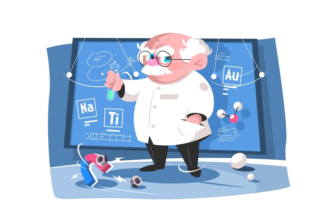 Old scientist testing green liquid in glass tube vector illustration. Board with different formulas and calculations cartoon design. Chemical experiment concept