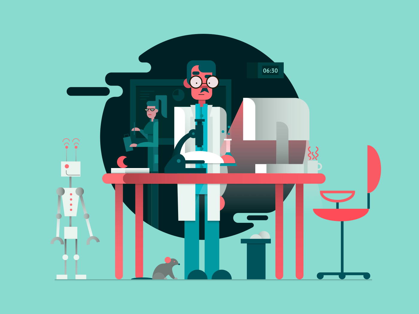 Scientist in lab room illustration