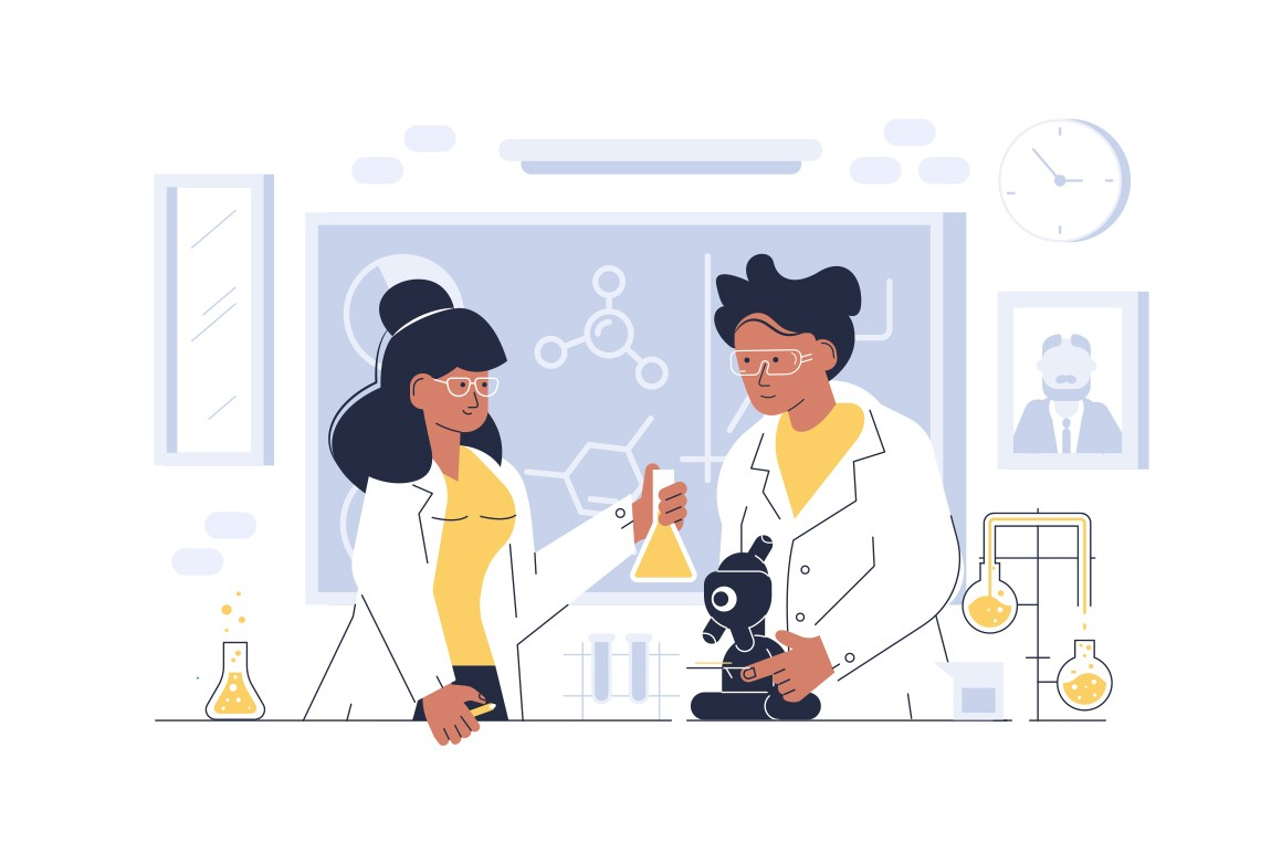 Doctors in glasses working at laboratory vector illustration. Scientists doing research and experiments at medical lab with special equipment flat style concept