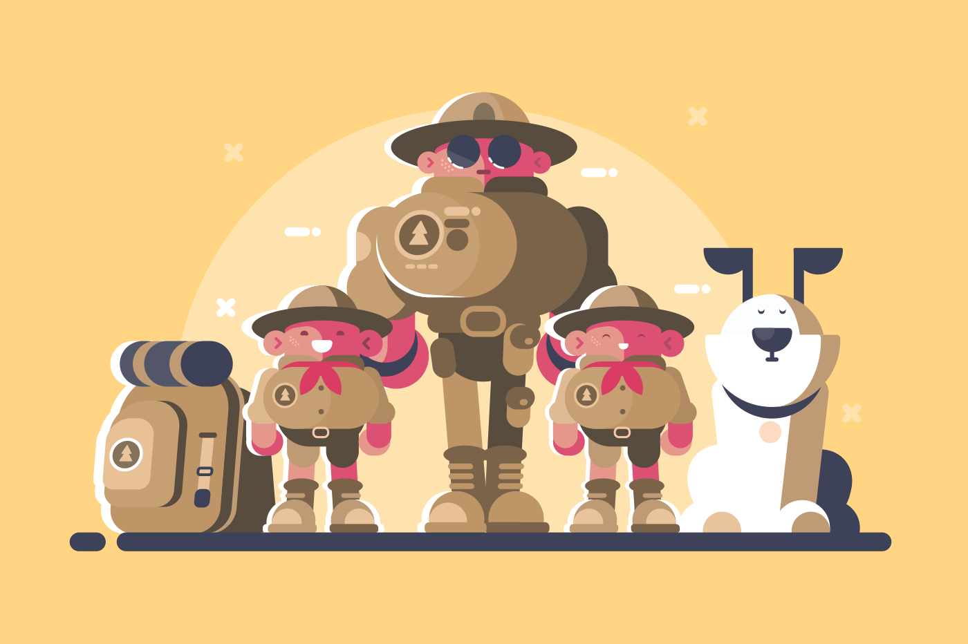 Group of scouts with rucksack and dog. Head and children. Vector illustration