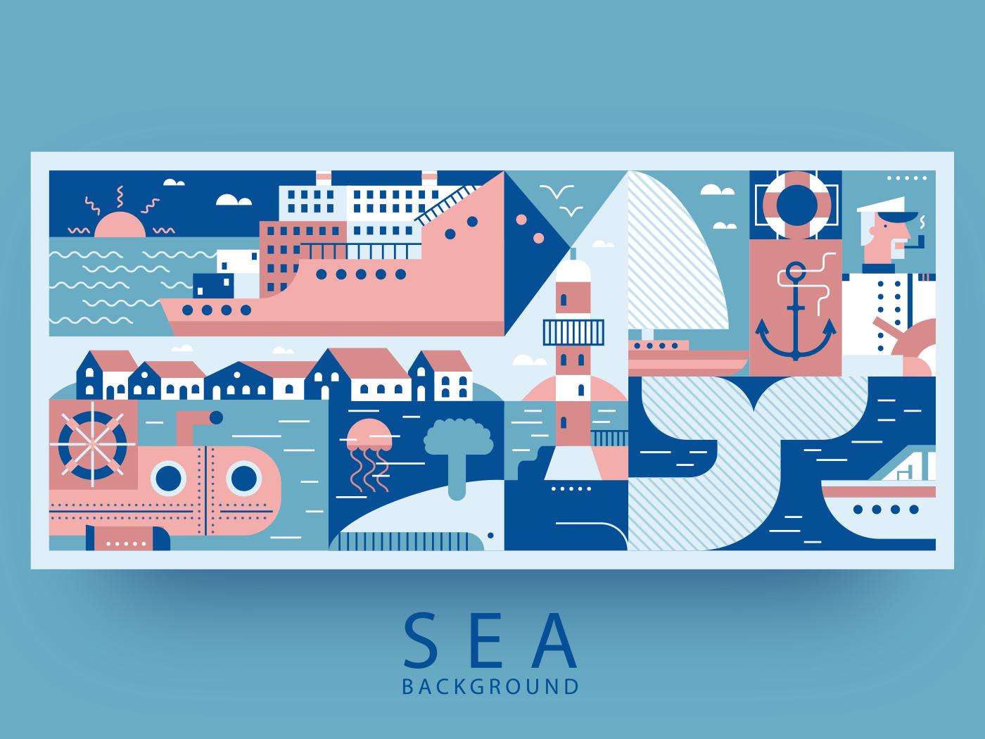 Sea port and city background illustration
