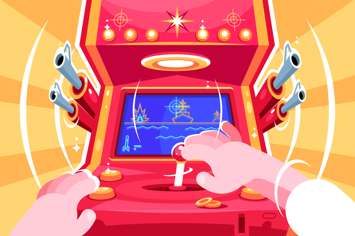 Gamer playing sea battle arcade video game. Retro slot machine with joystick. Flat. Vector illustration.