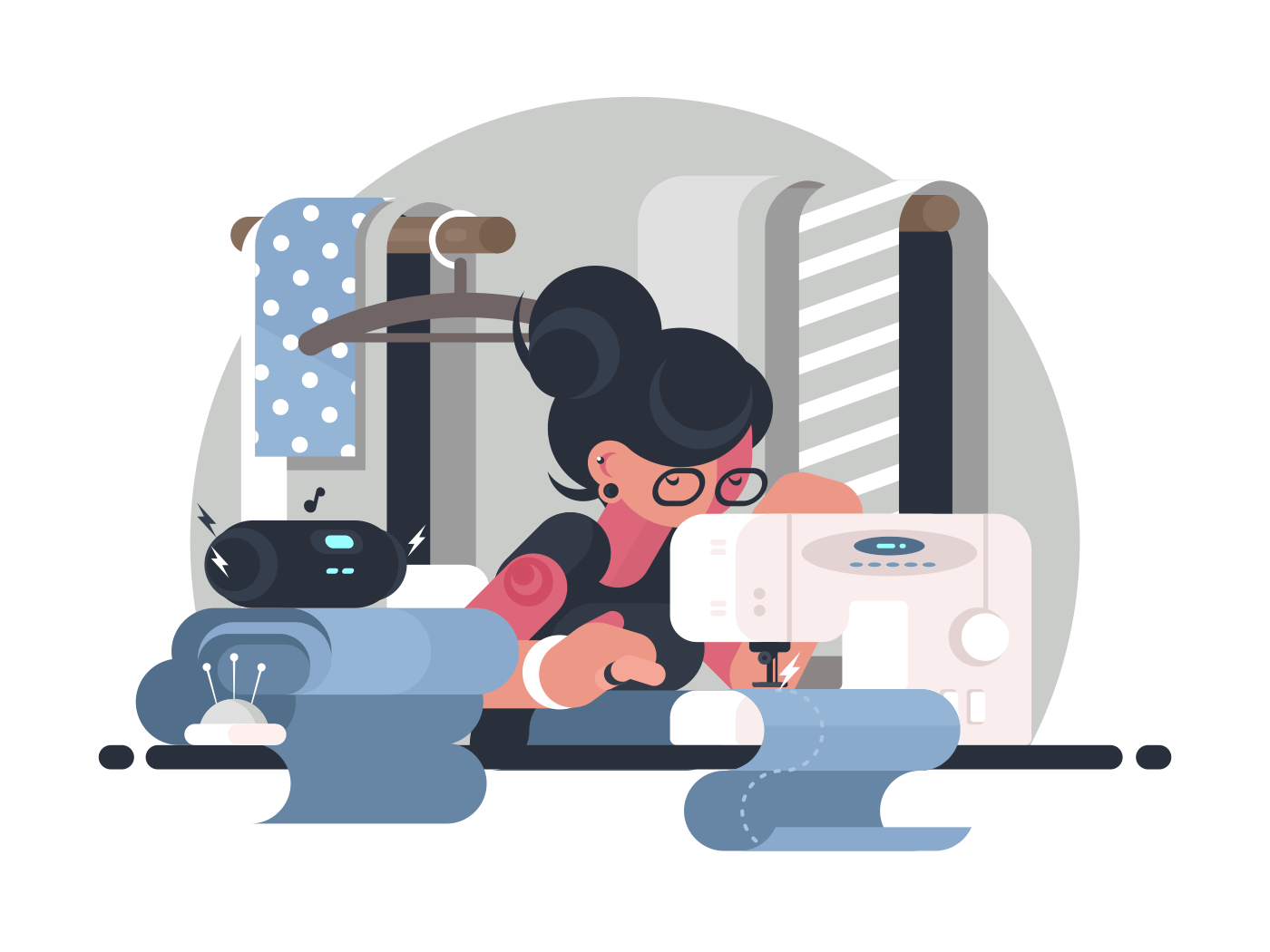Girl seamstress in workplace. Woman working at sewing machine. Vector illustration